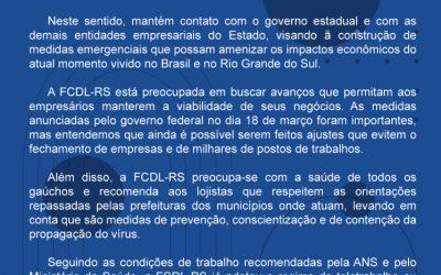Nota Oficial FCDL-RS – Coronavírus