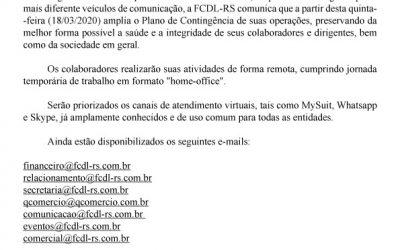 FCDL-RS adota sistema de trabalho remoto como forma de prevenção ao contágio pelo Covid-19