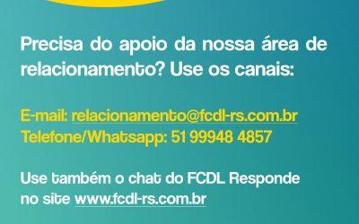 Canais de Atendimento da Área de Relacionamento da FCDL-RS