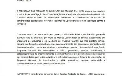 Comunicado do Departamento Jurídico da FCDL-RS